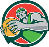 Basketball Player Holding Ball Circle Retro