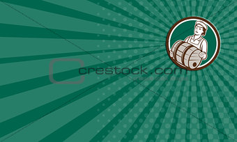 Business card Female Bartender Carrying Keg Circle Retro