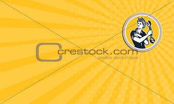 Business card Female Mechanic Wrench Circle Retro