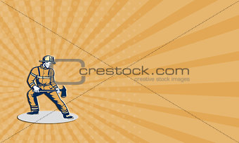 Business card Fireman Firefighter Standing Holding Fire Axe