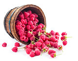 Berries raspberry in wooden basket