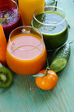 assorted fresh juices from fruits and vegetables
