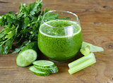 fresh green juice from celery, cucumbers and parsley