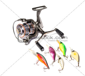fishing supplies isolated on white background