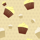 Cupcakes on a polkadot background seamless pattern