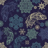 Vector Seamless Pattern with snowflakes and feathers