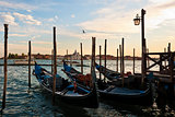 Gondolas at sunset in Venice