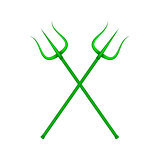 Two crossed tridents in green design