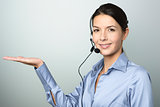 Smiling woman doing telemarketing