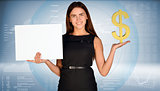 Businesswoman holding golden dollar symbol and blank paper sheet