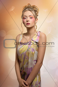 blonde female with colorful fresh style