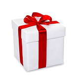 White gift box with red ribbon and bow, isolated on white backgr