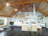 kitchen interior in the attic