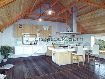 kitchen interior in the attic