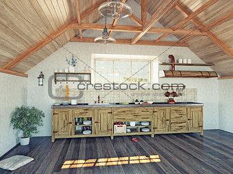 kitchen  in the attic
