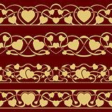 Gold valentine seamless border