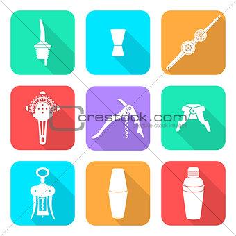 flat style white icons barman instruments set
