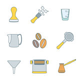 color outline coffee barista instruments icons set