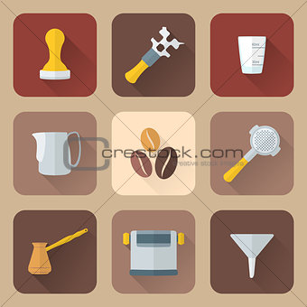 flat style coffee barista instruments icons set