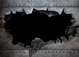 hole in metal armor steam punk background
