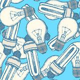 Sketch light bulbs in vintage style