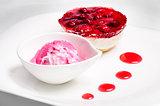Raspberry cheese cake and ice cream ball