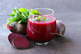 fresh beet juice with mint leaf in a glass
