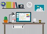Working Place Modern Office Interior Flat Design Vector Illustration