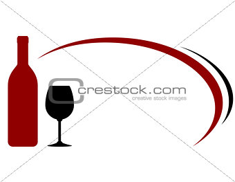 background with red wine bottle and glass