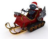 Android in snowmobile sleigh