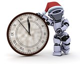 Robot with clock at new years