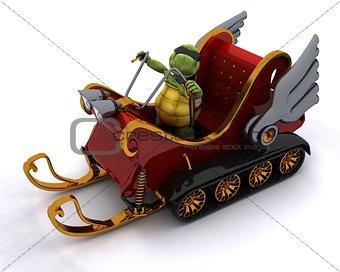 tortoise in a snowmobile sleigh