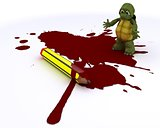 cartoonist tortoise with pencil and blood