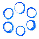 Set of blue acrylic round circles.