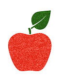 red apple with leaf