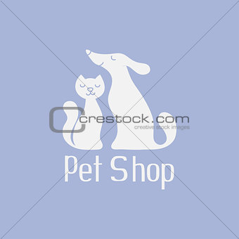 Cat and dog logo for pet shop