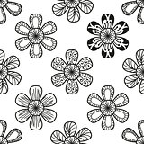 Floral doodling seamless pattern in tattoo style with flowers
