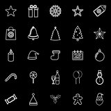Christmas line icons on black background