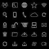 Communication line icons on black background