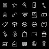 Shopping line icons on black background