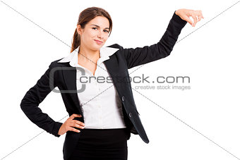 Business woman holding something