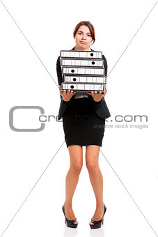 Business woman carying folders