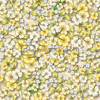 abstract yellow floral ornament on beige