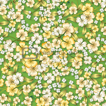abstract yellow floral ornament on green