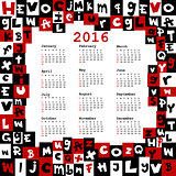 2016 calendar with letters
