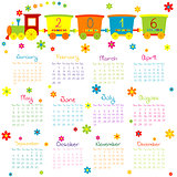 2016 Calendar with toy train and flowers