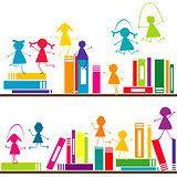 Cartoon children playing on book shelves