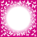 Pink butterflies border with place for your text