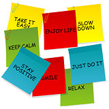 Sheets of paper with motivational and positive thinking messages