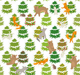 Seamless green pattern with trees and animals